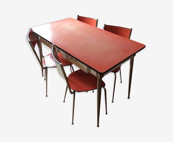 Table cuisine et 4 chaises Salvarani - formica - rouge ...