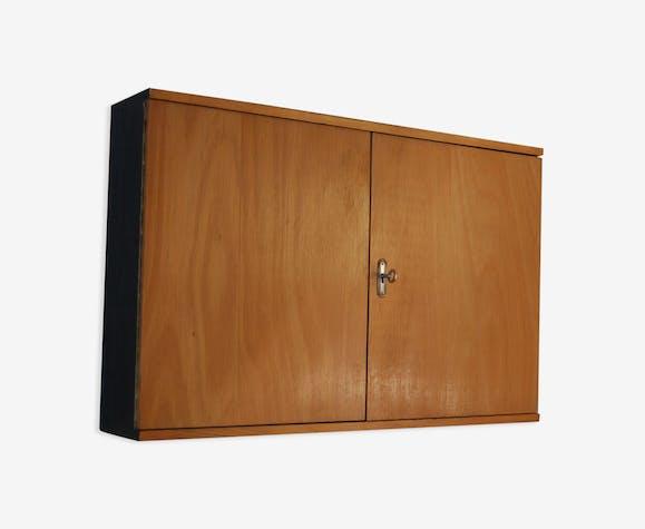 Placard mural ann es 60 meuble outils rangement vintage en h tre bois mat riau marron - Rangement placard mural ...
