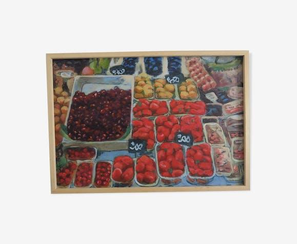 Huile sur toile d'un étal de marché de Igñigo Villalonga
