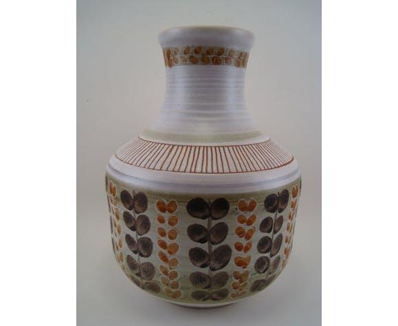 Vase céramique vintage signé Marcel Guillot céramiste français années 1950