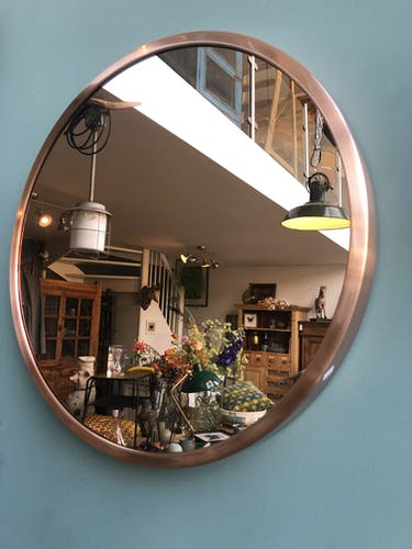 Miroir rond de couleur cuivre 62cm