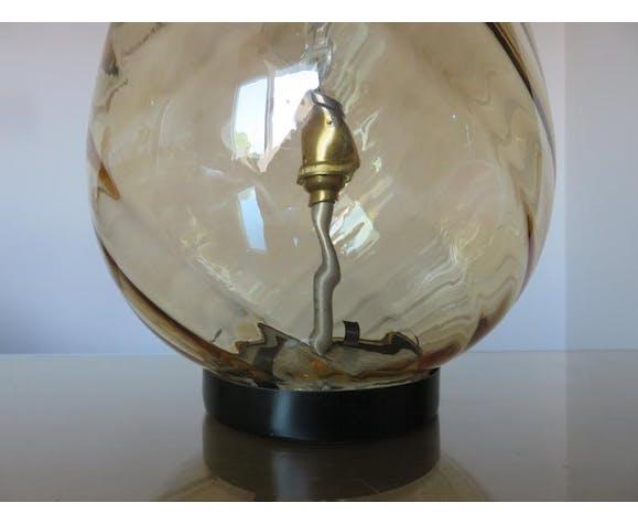 """Lampe """" oeuf """" en verre de Murano ambré doré années 60 70"""