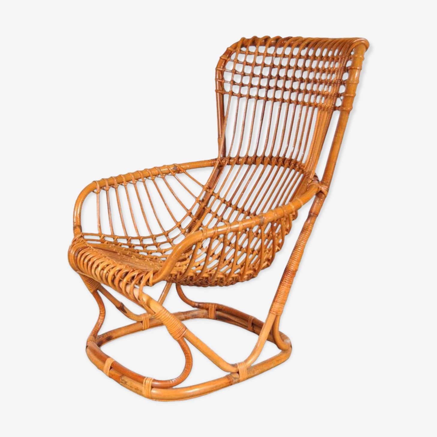 Lounge Chair rotin par Tito Agnoli Italie circa 1960