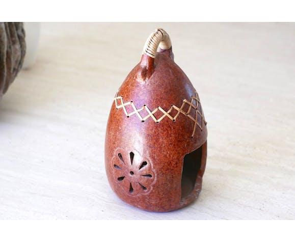 Lanterne ethnique en terre cuite, années 70