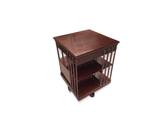bibliotheque tournante anglaise en acajou bois mat riau marron vintage 166851. Black Bedroom Furniture Sets. Home Design Ideas