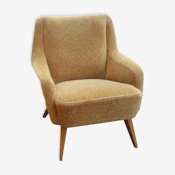 Danish club Chair armrest wave 50/60s yellow beige