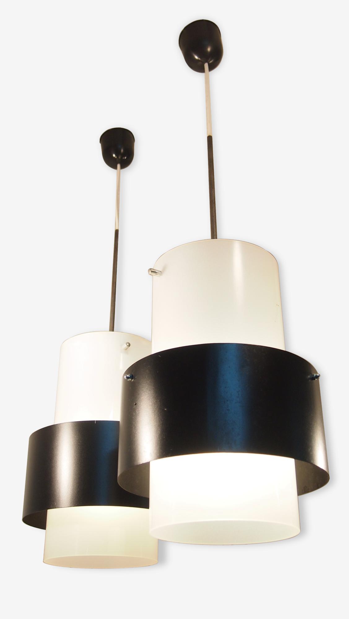 Paire Suspension HAMMERBORG FOG MORUP Lanterne Mid Century Danois Industriel