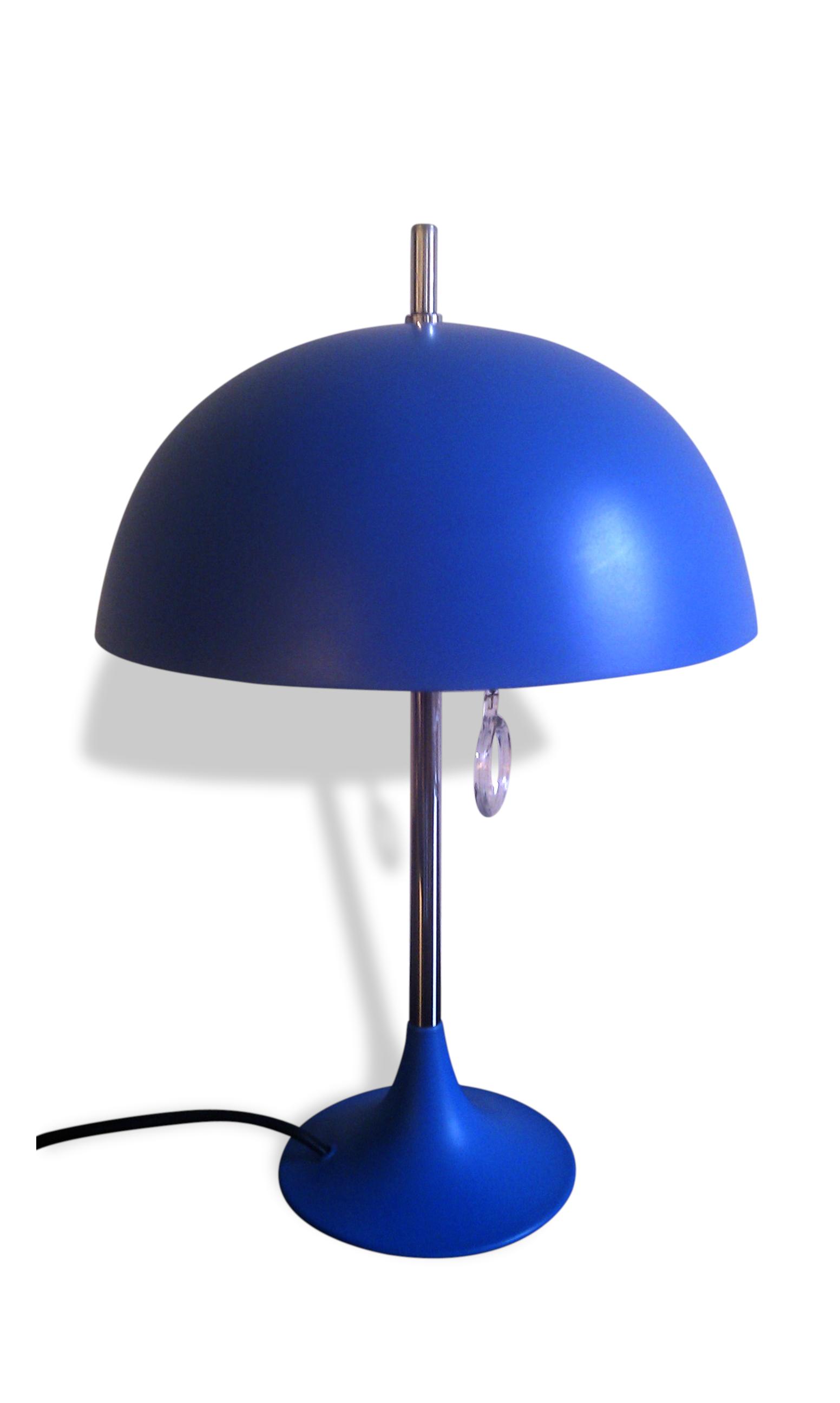 """Lampe """"Champignon""""Années 60' - Métal - Bleu - Vintage - 38995"""