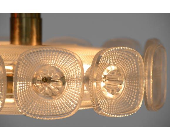 Pendentif en laiton et verre léger par Carl Fagerlund pour Orrefors, Suède des années 1960