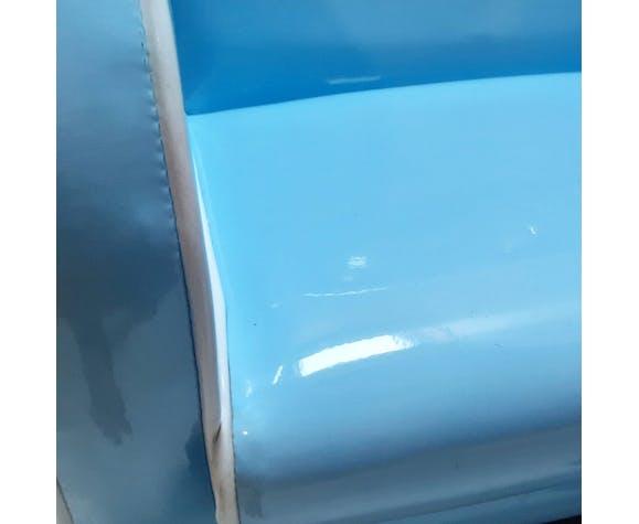 Fauteuil club vintage en skaï bleu