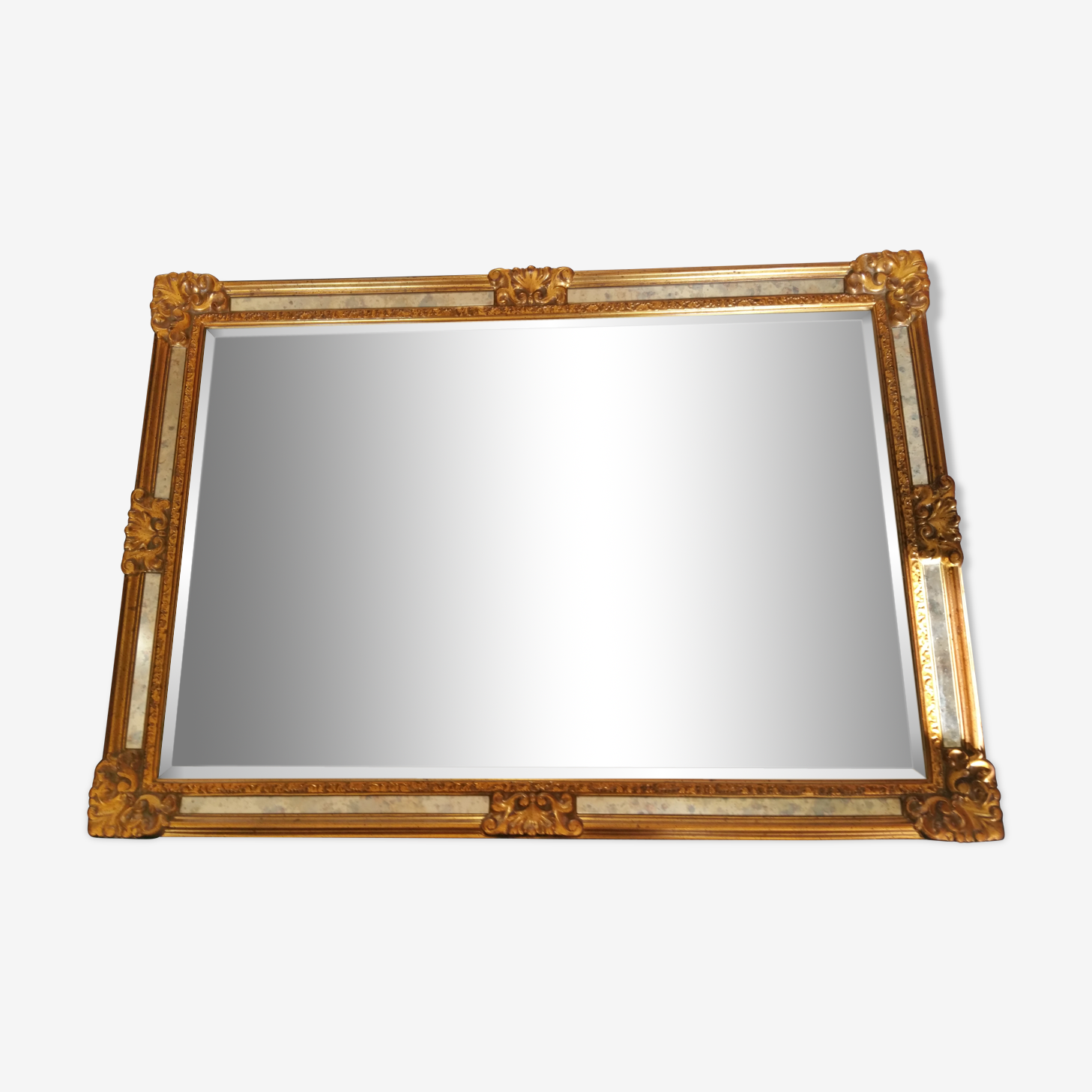 Golden wood and mirror beveled mirror 67x95cm
