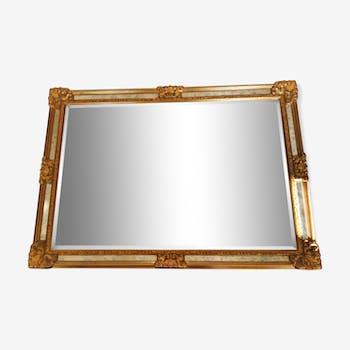 Miroir en bois doré et miroir biseauté 67x95cm