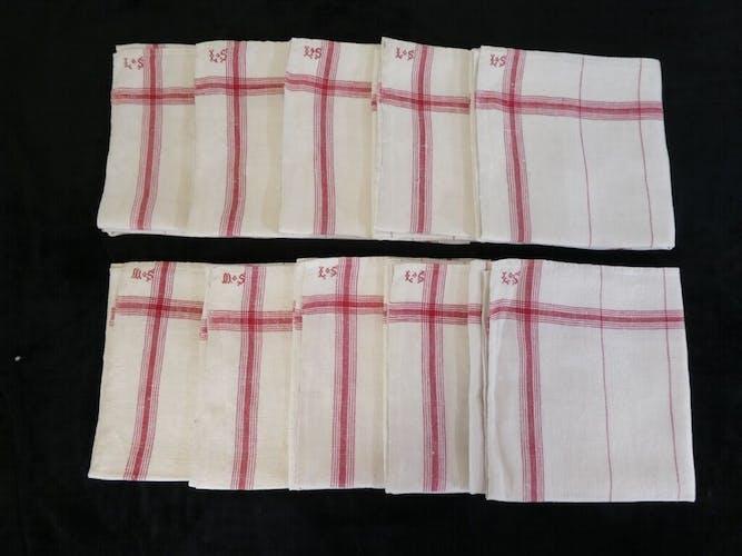 Lot de 10 grands torchons anciens liteaux croisés rouge monogrammes