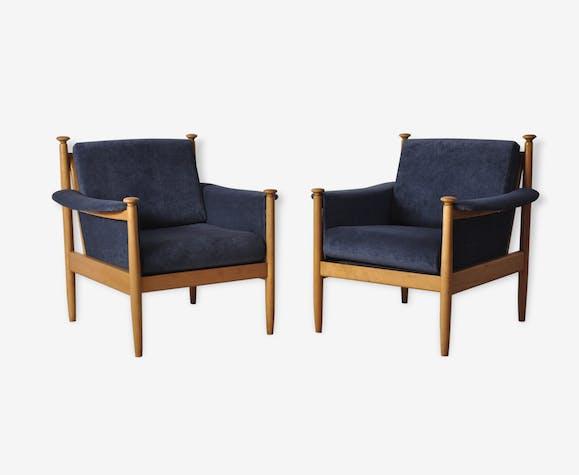 bleu pair Mid tissu century 2 modern of armchairs EbeWDHY2I9