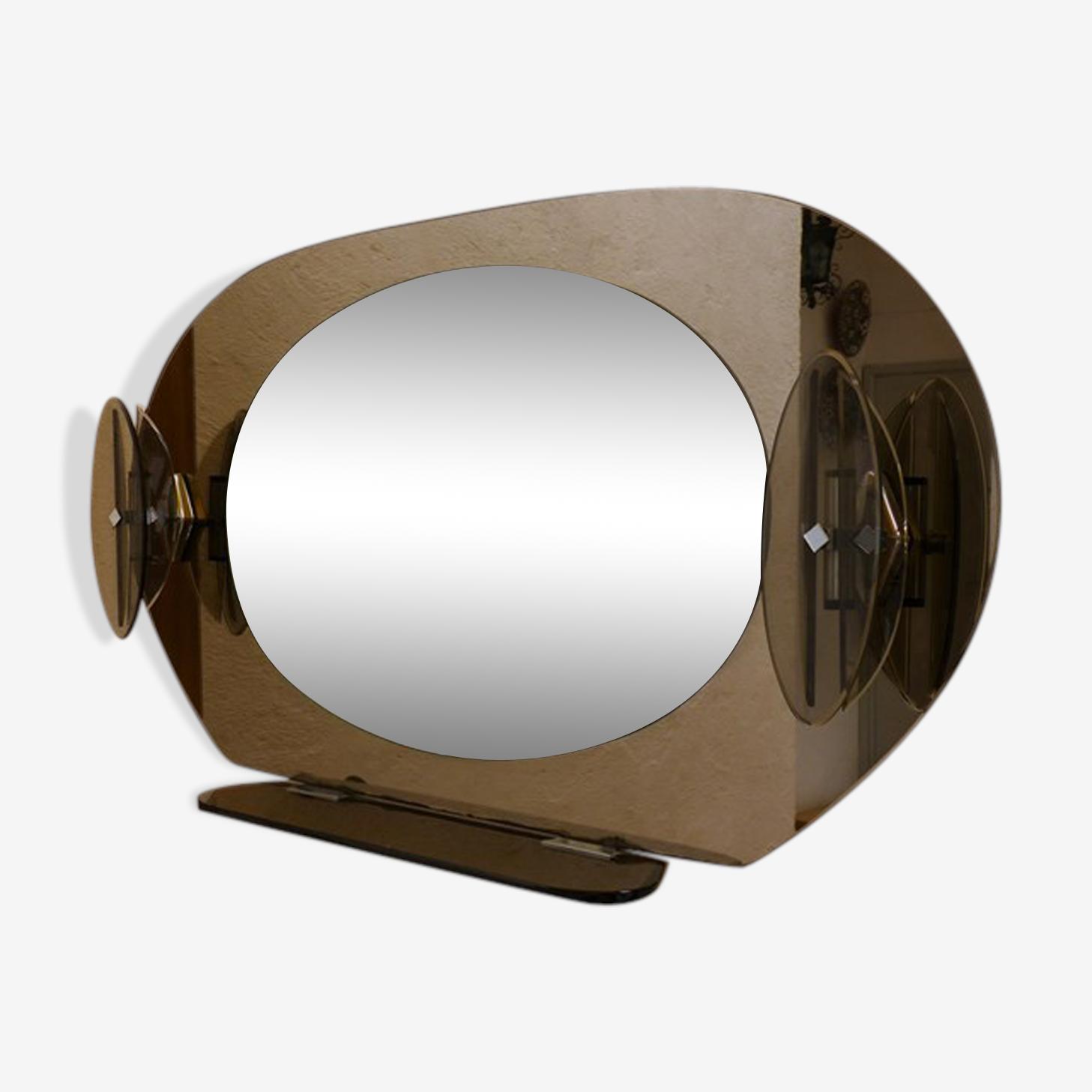 Miroir Fontana Arte ovale en verre fumé