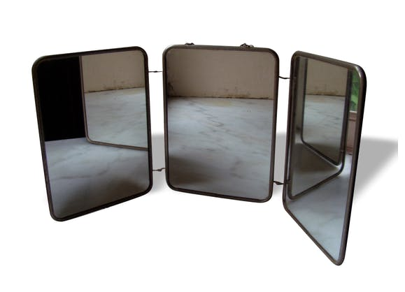 Miroir triptyque de barbier - métal - transparent - vintage - 12854