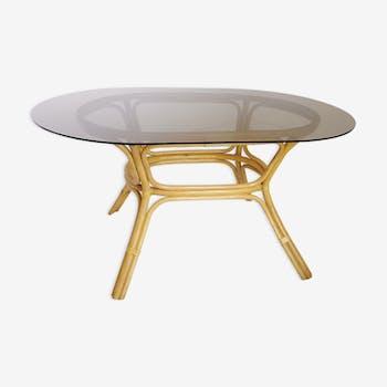 Table rattan and smoked glass 70s