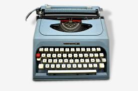 Machine à écrire portative bleue Underwood 26