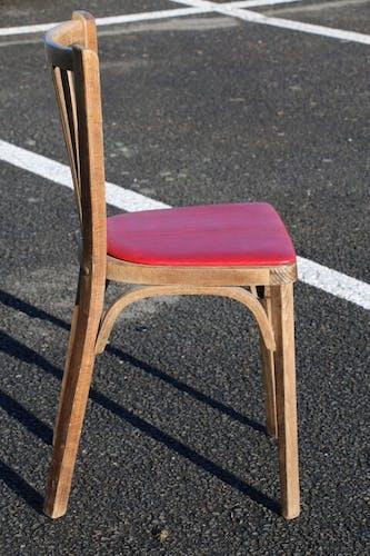 Set de 8 chaises Baumann N°12 skaï rouge hêtre moyen