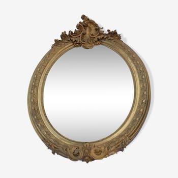 Miroir rond en stuc doré 100x72cm