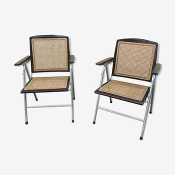 Rare paire de fauteuils pliants cannés vintage