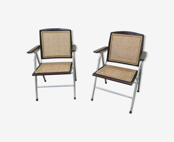 rare paire de fauteuils pliants cann s vintage bois mat riau bois couleur vintage. Black Bedroom Furniture Sets. Home Design Ideas