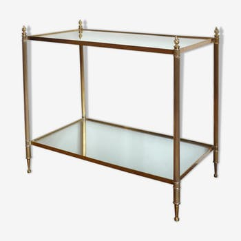 Bronze side table and brass