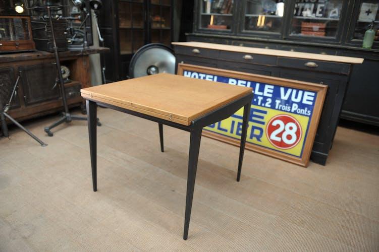 Table pliante vintage en chêne 1950