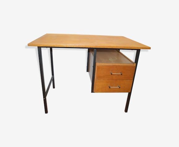 Bureau vintage en fer et bois bois matériau marron vintage