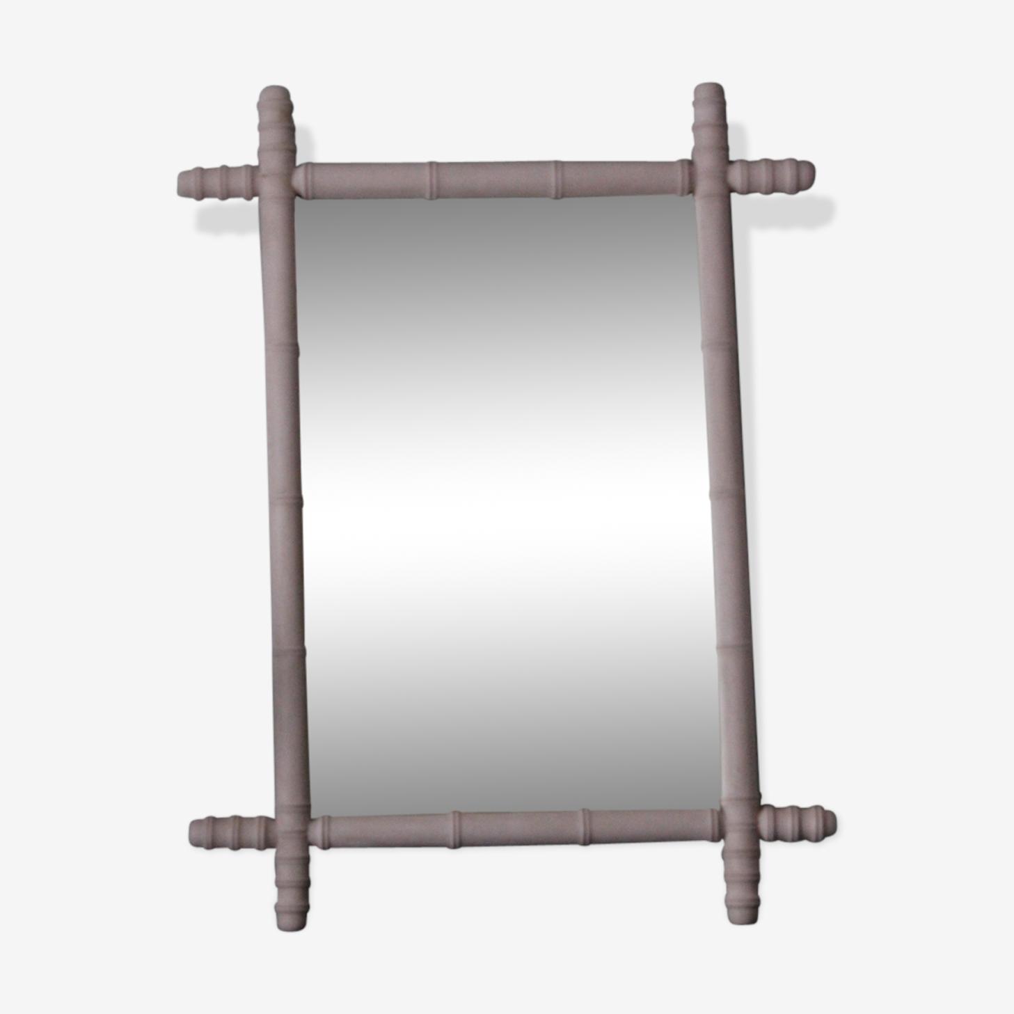 Miroir bambou rose