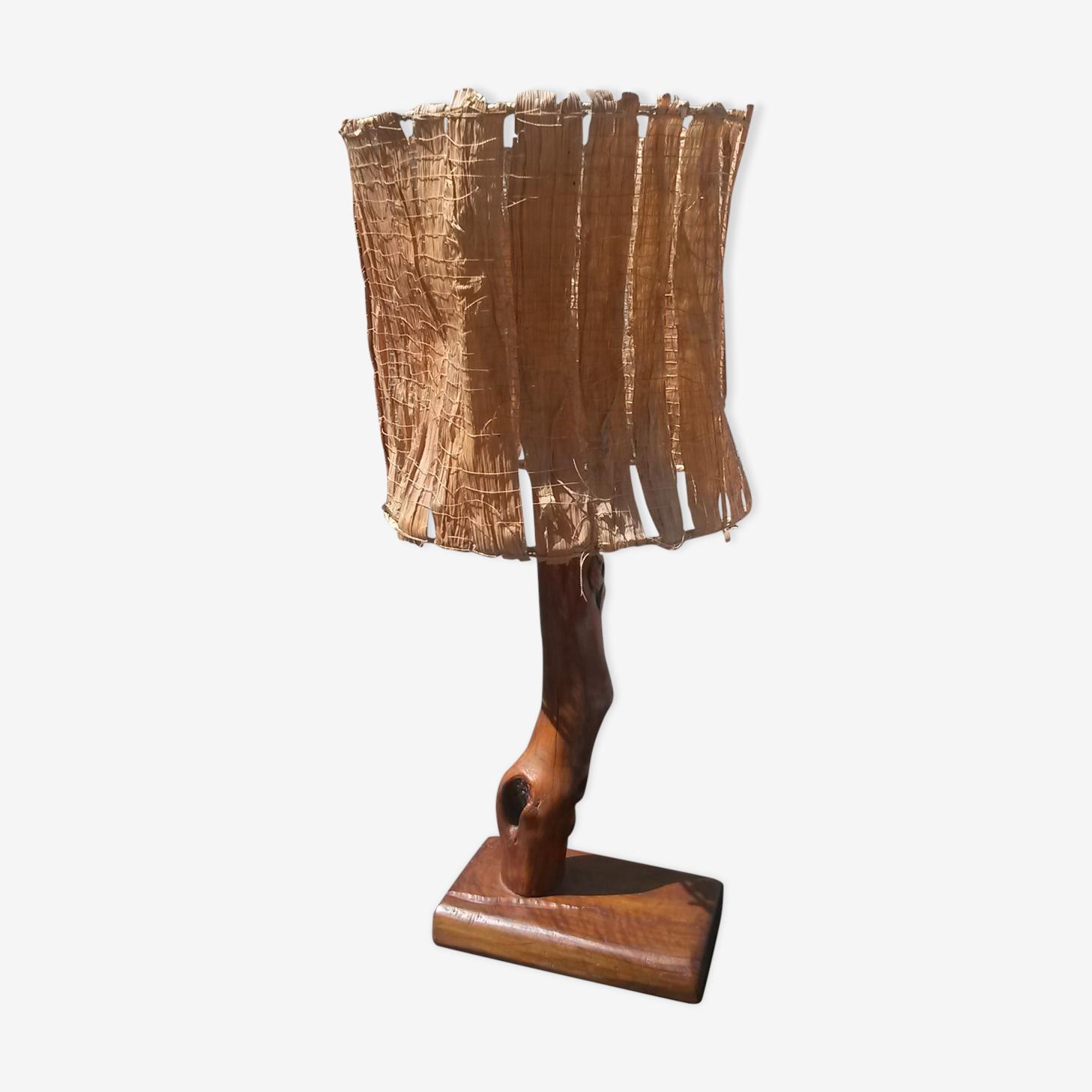Lampe brutaliste en bois 1970