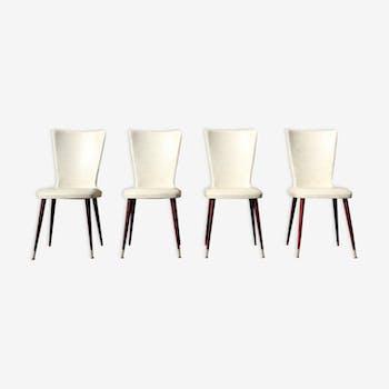 Set de 4 chaises blanches aux pieds compas années 1960