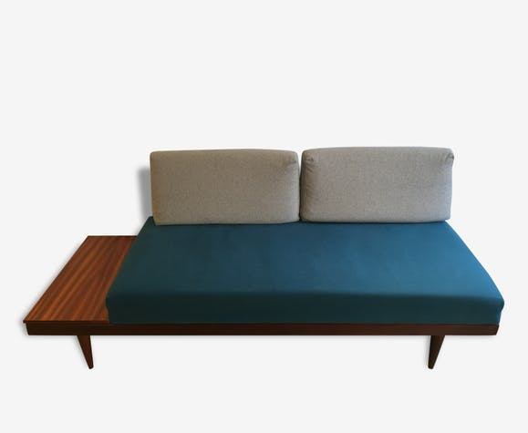 canap daybed scandinave vintage convertible lit 1 place bois mat riau bleu scandinave. Black Bedroom Furniture Sets. Home Design Ideas
