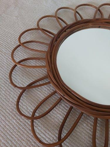 Miroir rotin, 60's