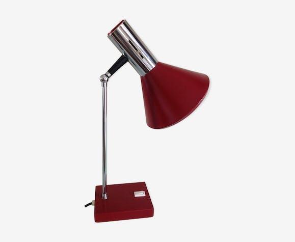 Lampe de bureau articulée chrome et metal bordeaux 60/70