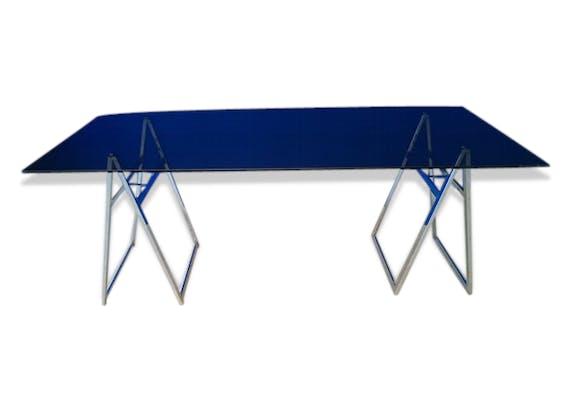 bureau architecte table verre tr teaux inox vintage 70 verre et cristal design 77312. Black Bedroom Furniture Sets. Home Design Ideas