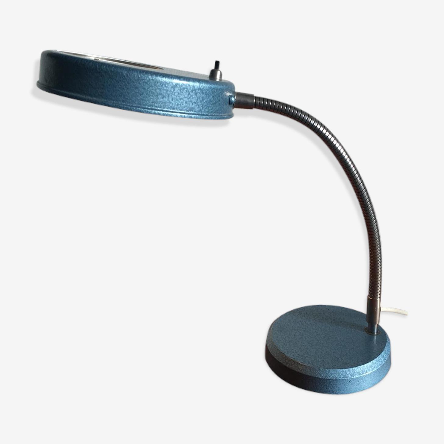 Lampe De Bureau Vintage Industrielle Avec Loupe 1950s Fonte Bleu