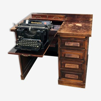 American journalist's desk with a retractable typewriter