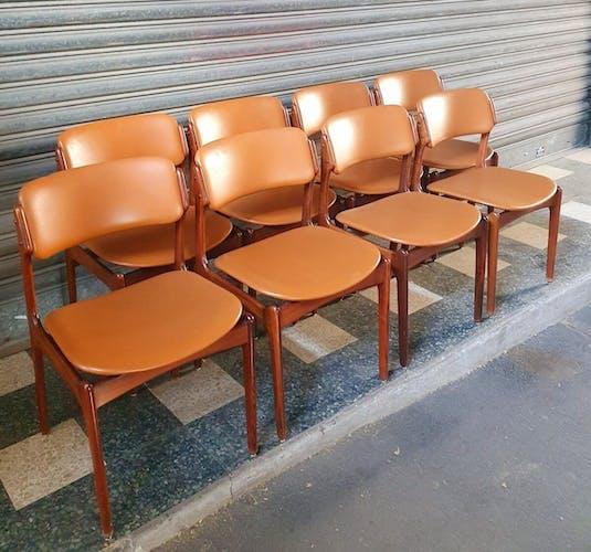 Set de 8 chaises de salle à manger - Erik Buch pour Od Møbler - Modèle 49 - 1960