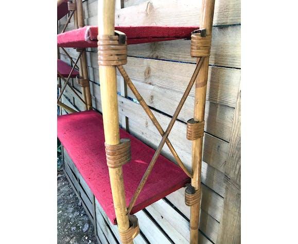 Paire d'étagères rotin et bambou années 60 vintage