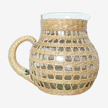 Wicker/rattan pitcher and glass