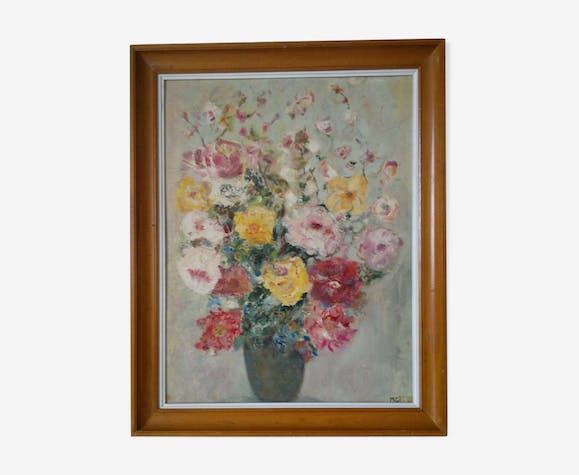 "Tableau peinture  ""fleurs artifice de gaieté"""