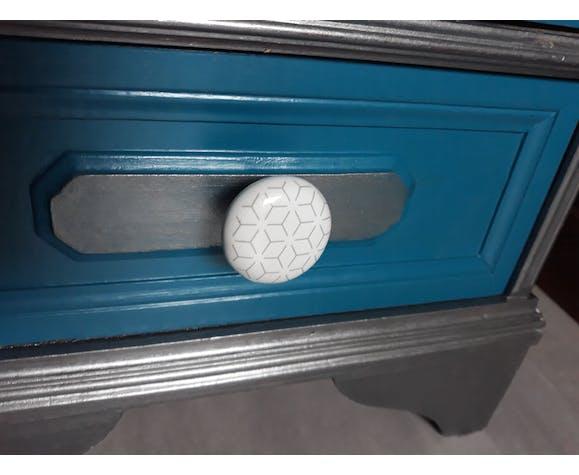 Meuble d'appoint de rangement bleu gris industriel