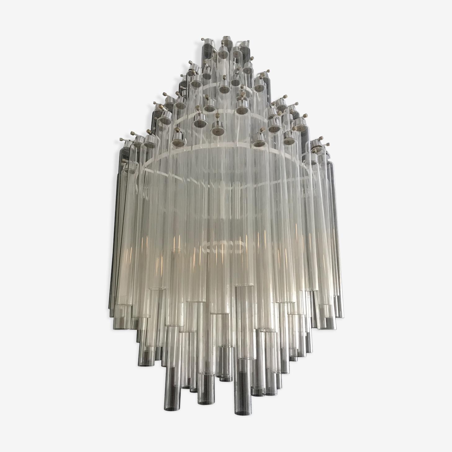Lustre Paolo Venini avec 200 tubes en verre 1950