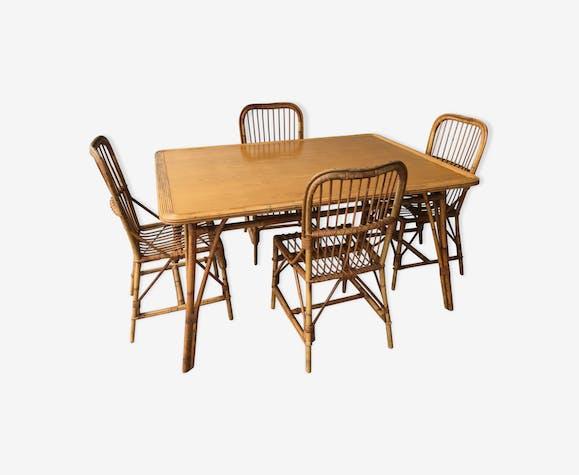 Ensemble Table De Salle A Manger Et 4 Chaises En Rotin Rotin Et