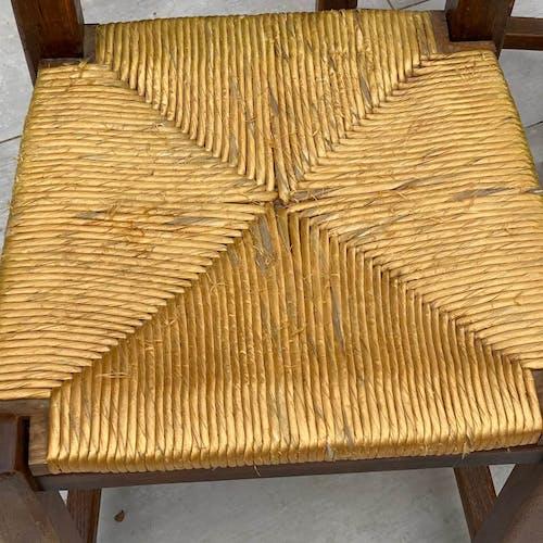 Ensemble de 6 chaises en paille et bois massif, 1950