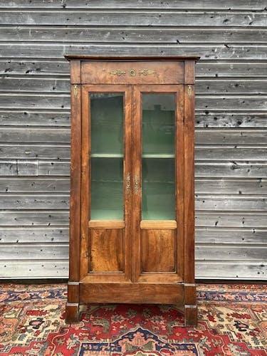 Vitrine bibliothèque d'époque restauration en noyer XIX eme siècle