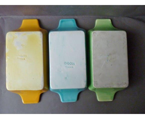 Série 3 coupelles en céramique Digoin, imitant la tôle perforée