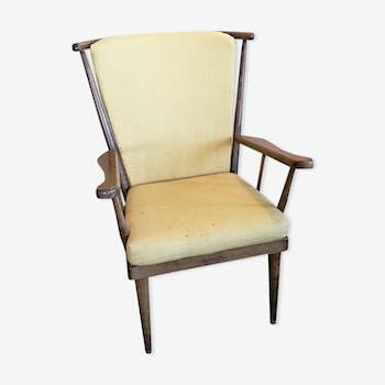 fauteuil vintage jaune laine coton jaune vintage. Black Bedroom Furniture Sets. Home Design Ideas
