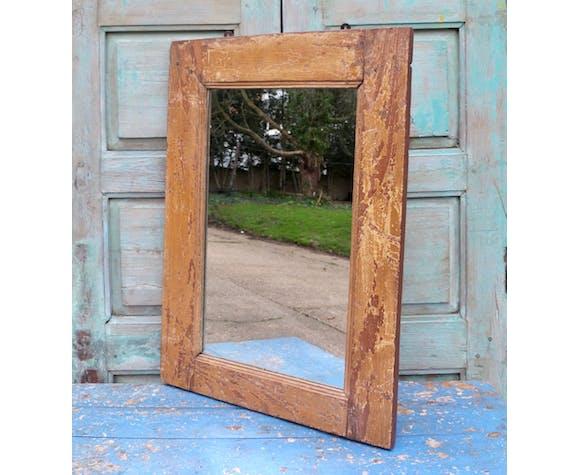 Cadre antique indien de miroir de fretwork en bois